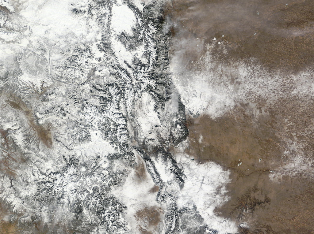 Colorado winter satellite view courtesy of the USGS