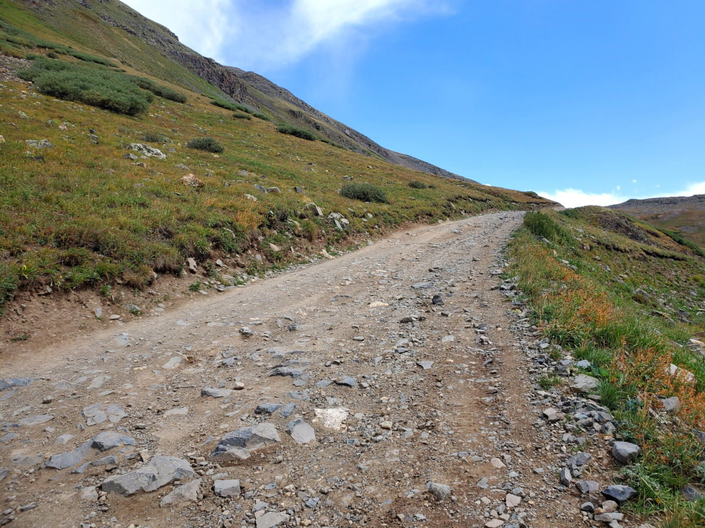The road is rocky but solid.
