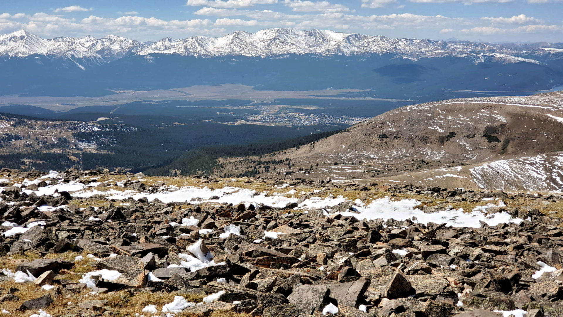 Leadville in the valley below
