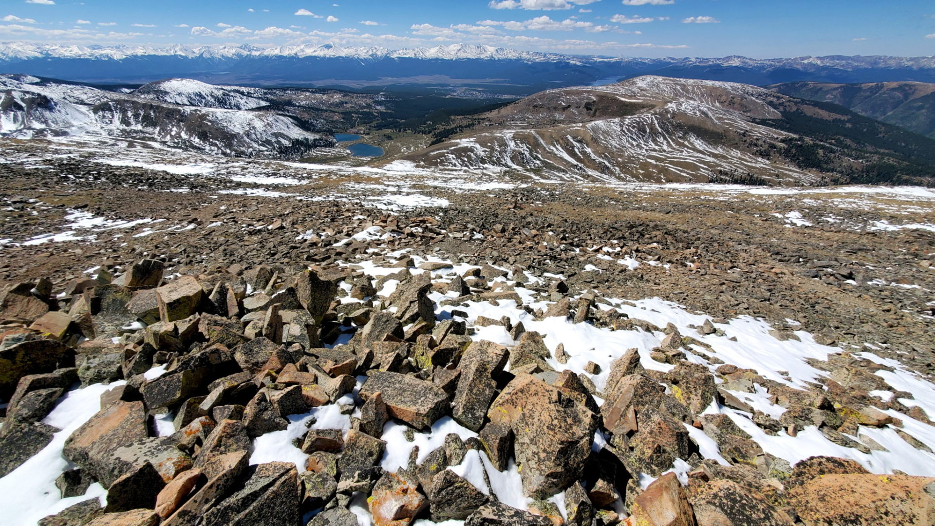 View west with the Sawatch Range in the distance