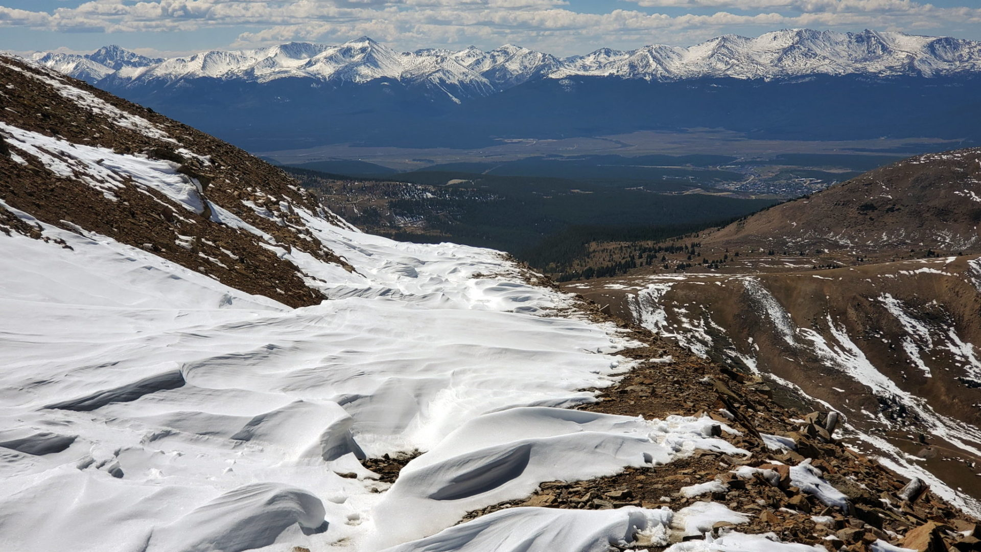 Impossible to get to Leadville (middle right) from the pass