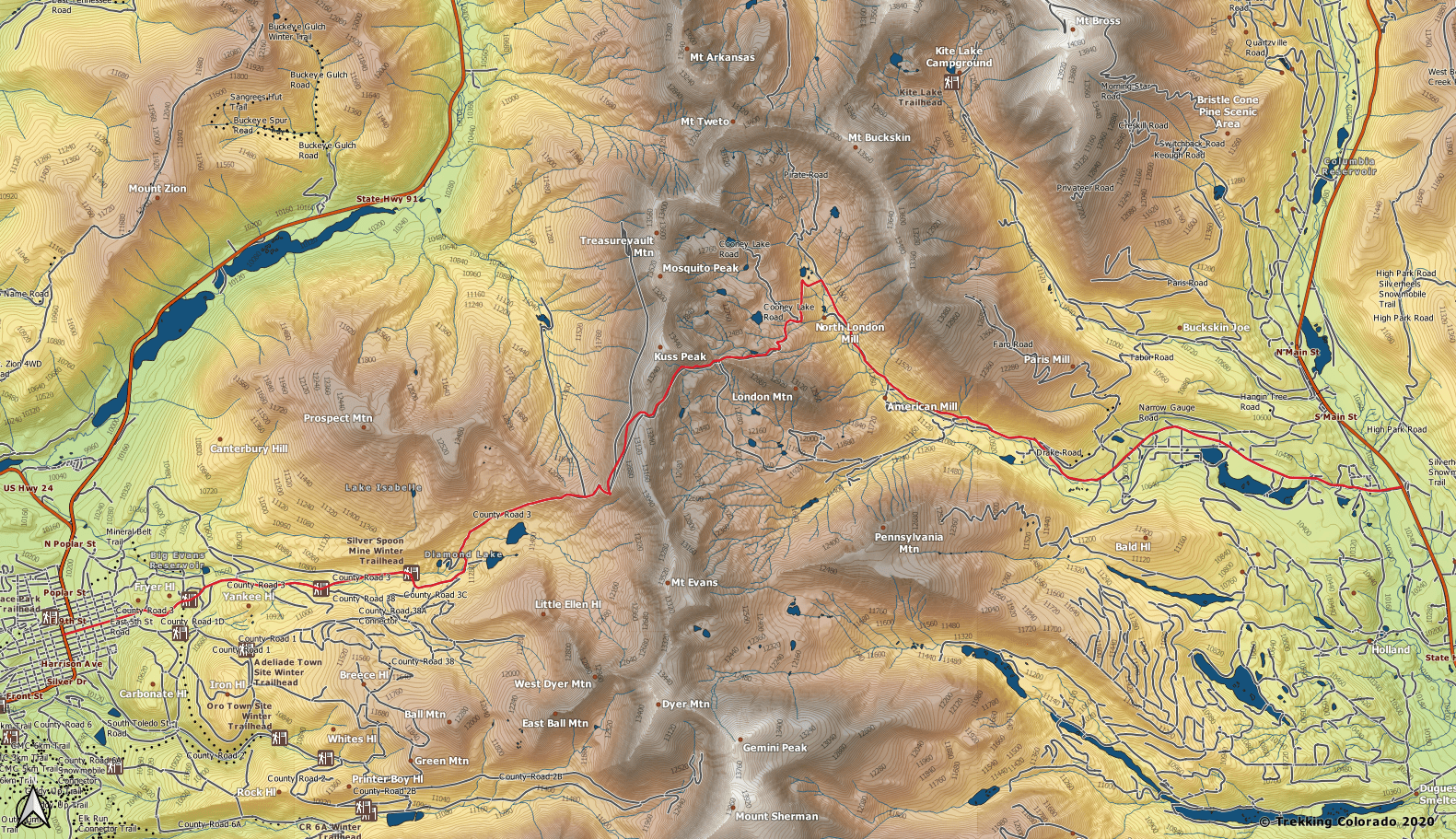 Mosquito Pass Elevation Map